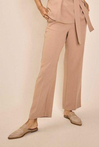 beige pantalon met elastische tailleband 137930 bai leia
