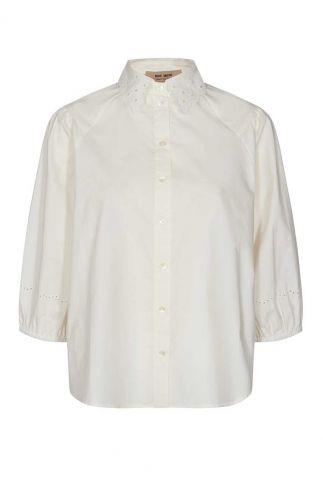 witte blouse met broderie kraag sigrid 3/4 blouse 138530