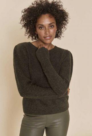 donker groene trui van alpaca wolmix thanne knit 139680
