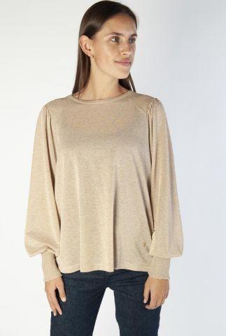 gouden lurex top met ballonmouwen kamilla ls blouse 139990