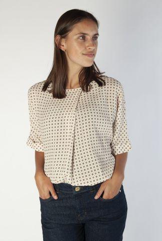 ecru kleurige top met sierlijke print posie tilia blouse 140021
