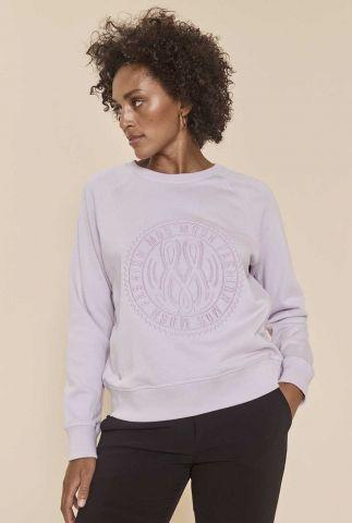 lila sweater met geborduurde applicatie ace 141200