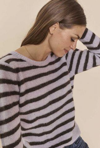 lila gestreepte trui van alpaca wolmix thanne stripe knit 141760