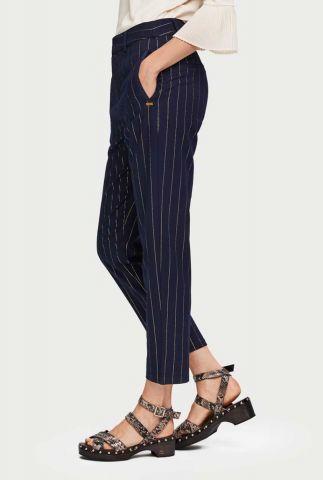 donker blauwe pantalon met lurex gestreept patroon 153702