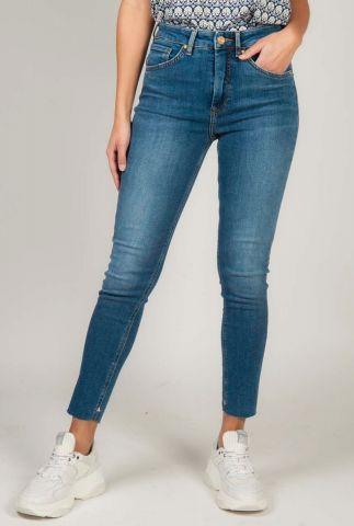 blauwe high rise skinny jeans met stretch 153715