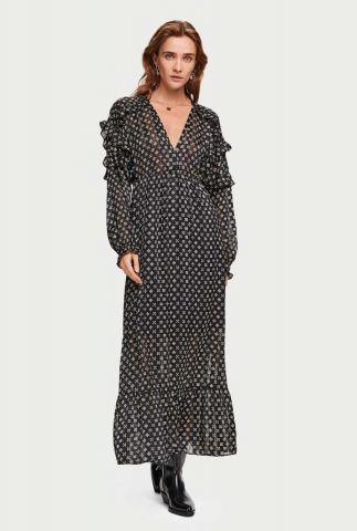 zwarte maxi jurk met grafische bloemenprint en ruches 153846