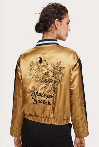 satijnen reversible bomber jas met rittsluiting 156078