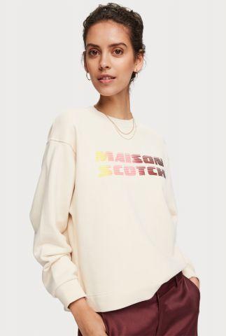 ecru kleurige sweater van katoen met logo opdruk 156144