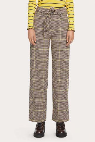 bruin geruite pantalon met wijde broekspijp 156933