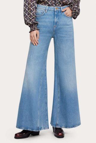 lichte denim flared jeans met high waist 156988
