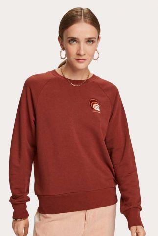 donker bruine sweater met geborduurde applicatie 157035
