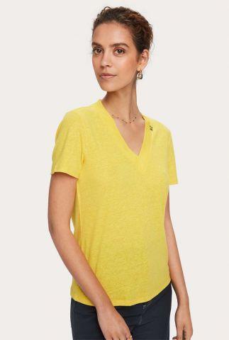 linnen basis t-shirt met v-hals en korte mouw 157062