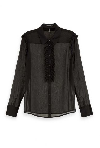 transparante blouse met ruches 158904