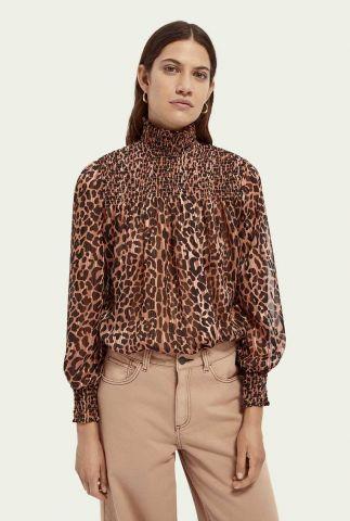 bruine top met luipaard dessin en lurex details 158956