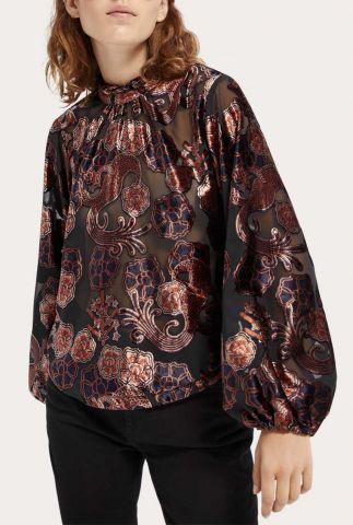 zwarte transparante top met fluwelen details 158957