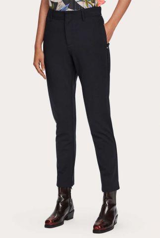 donker blauwe viscosemix pantalon met steekzakken 159057