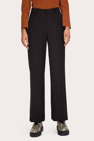 zwarte pantalon met rechte pijpen en ingeweven dessin 159063