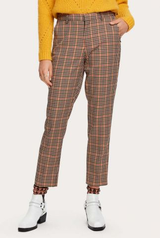 bruine slim fit pantalon met ruiten dessin 159066