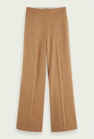 zand kleurige wollen broek wijde broekspijp159077