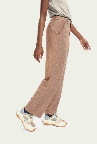 beige stretch pantalon met lurex glitter en wijde pijpen 159089