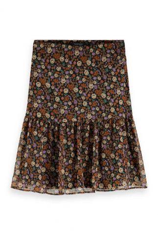 zwarte mini rok met fijn bloemen dessin 159099