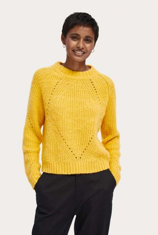 gele kabel trui van wol mix met ajour details 159212