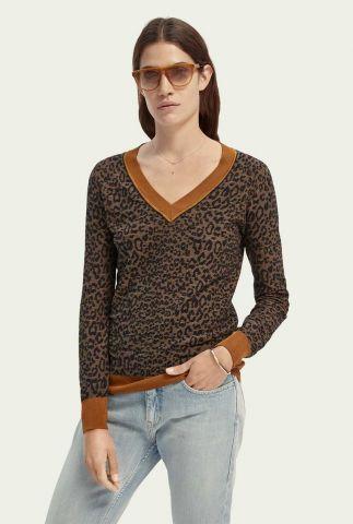 fijn gebreide trui met luipaard dessin 159219