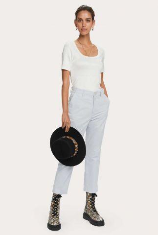 wit basis t-shirt met rib dessin  159276