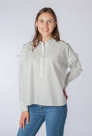 blouse met ingeweven strepen dessin en ruches 159908