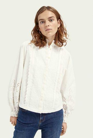 witte blouse met broderie details 159970