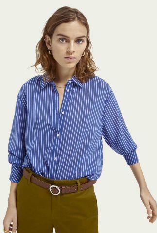 blauw met wit gestreepte blouse 160295