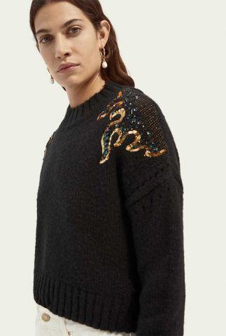 zwarte gebreide trui met pailletten detail en ronde hals 160442