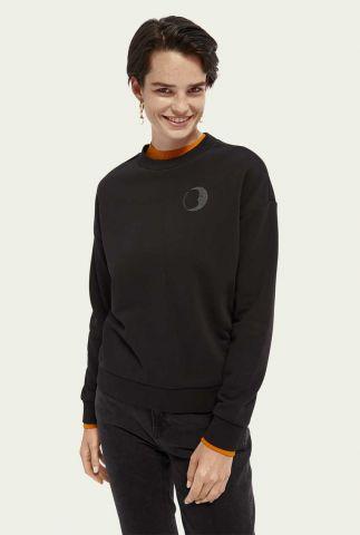 zwarte sweater met metallic opdruk achterzijde 160444