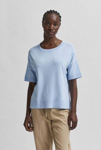licht blauwe fijn gebreide top met zijsplitten wille cashmere blue