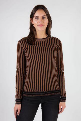bruine gestreepte trui van biologisch katoen 160558