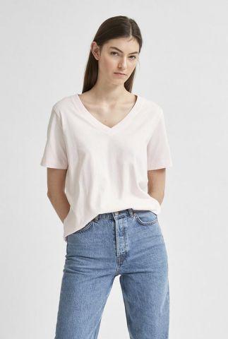 licht roze katoenen t-shirt met v-hals standard v-neck 16065132