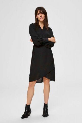 zwarte overslag jurk alva wrap dress 16071790