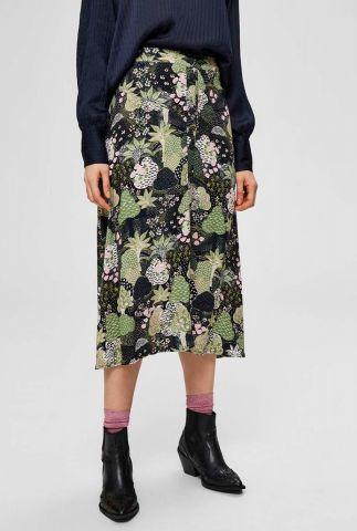 half lange rok met groene print marina midi skirt 16072239
