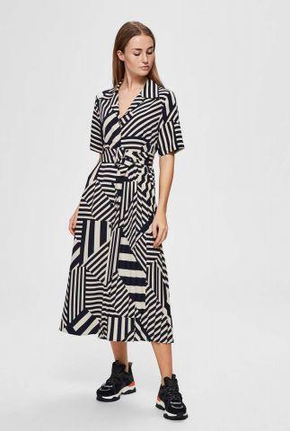 grafische jurk met ceintuur aleena-oriana dress 16072279