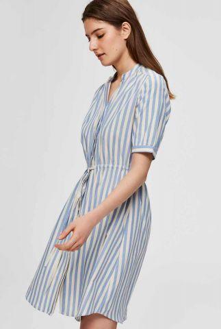 blauw gestreepte jurk met tunnelkoord zenia dress 16073290