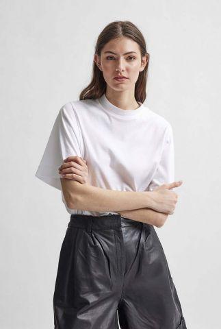 wit t-shirt van biologisch katoen met hoge hals palm tee 16078937