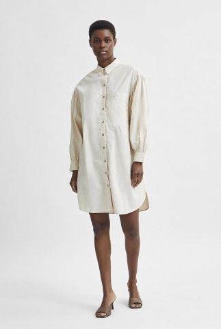 zand kleurige linnen jurk met ballon mouwen cecilie short shirt dress