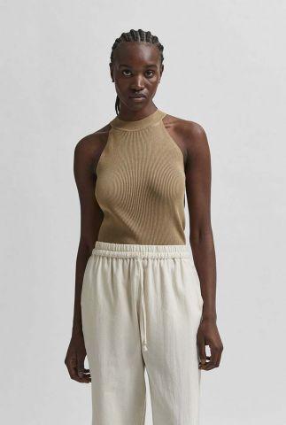 ribgebreide mouwloze top met hoge hals solita knit top 16079094