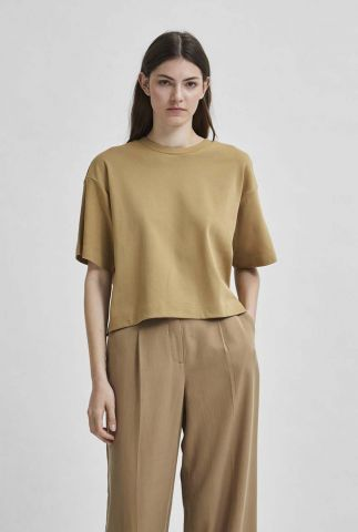 beige cropped t-shirt met wijde mouwen frame o-neck tee 16079245