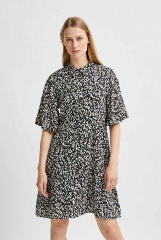 zwarte a-lijn jurk met witte print uma short dress 16079343