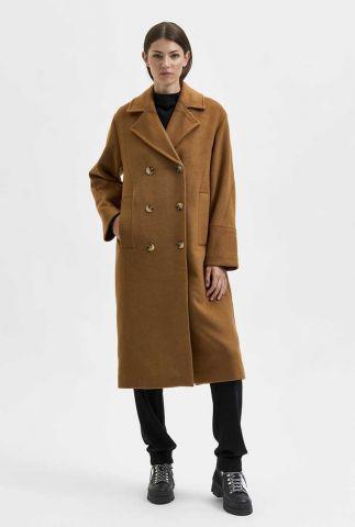 lange bruine jas van wolmix ellen wool coat 16079408