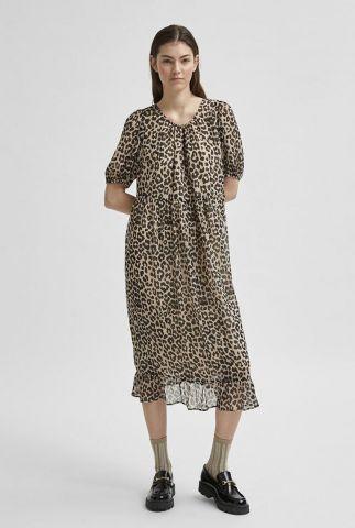 zand kleurige midi jurk met luipaard dessin tilda 2/4 midi dress 16079521