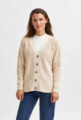 beige vest met v-hals emmy button cardi noos 16079720