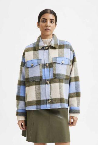 blauw met groen geruit jack remi check shirt jacket 16080195