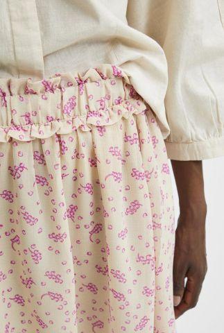 korte rok met roze print en ruches band sina short skirt 16080241